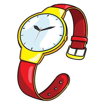 Illustration of cute cartoon wristwatch. Ilustracja