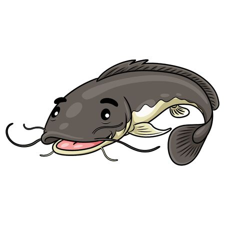 Illustration of cute cartoon catfish. Zdjęcie Seryjne - 130849432