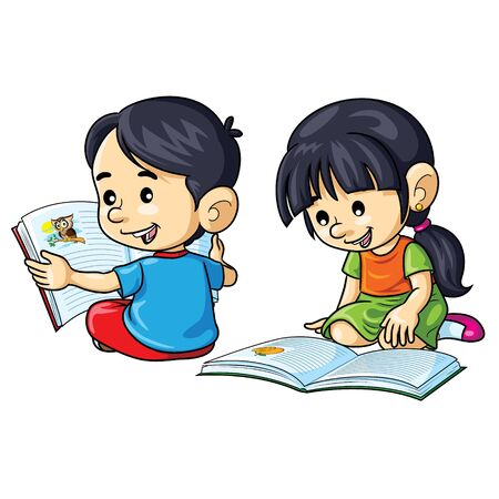 Illustration of cute cartoon children reading books. Banque d'images - 130849435