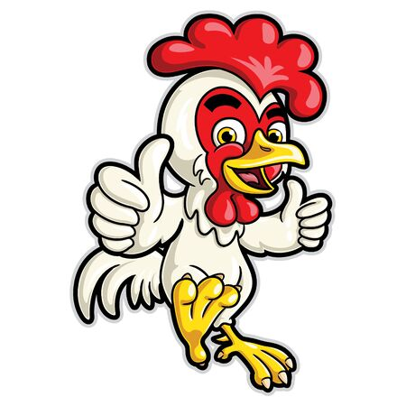 Illustrations of cute cartoon Chicken Cartoon Character with Two Thumbs.