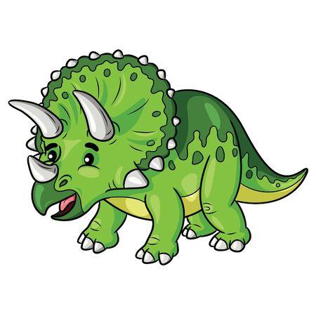 Illustration cartoon of cute triceratops cartoon.