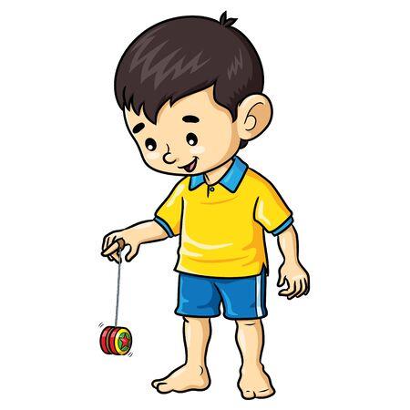 Illustration cartoon of cute a boy playing yoyo. Ilustração