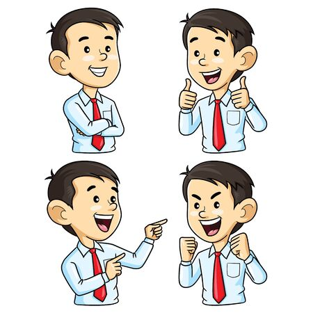 Ilustracja kreskówka ładny biznes człowiek postać z kreskówki z innym gestem. Ilustracje wektorowe