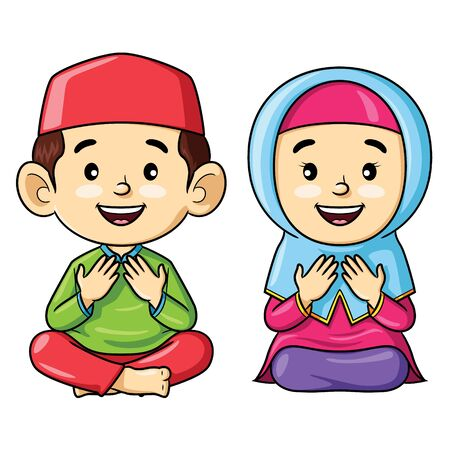 Illustration cartoon of cute muslem kids sitting while praying.