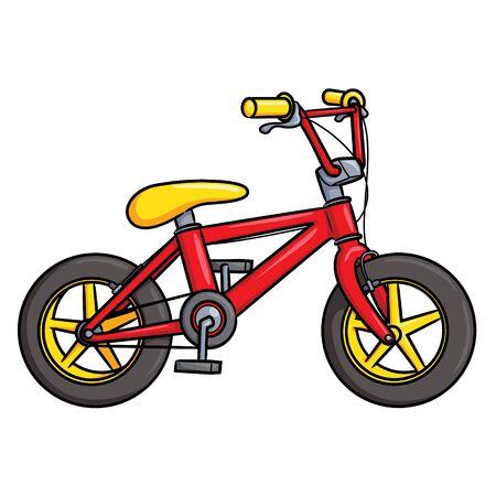 Illustration of cute cartoon bicycle. 矢量图像