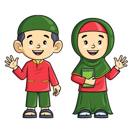 Illustration cartoon of cute boy and girl muslim.