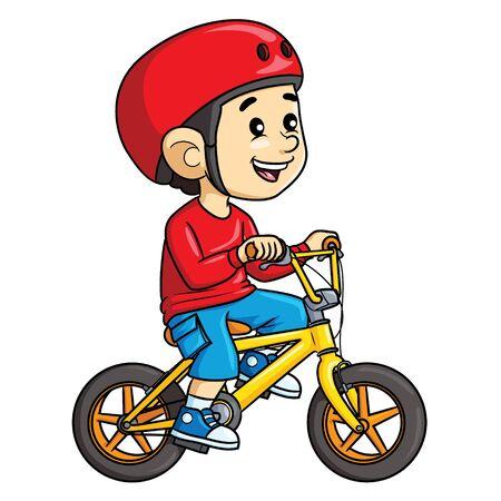 Illustration cartoon of cute a boy riding bicycle. Ilustração