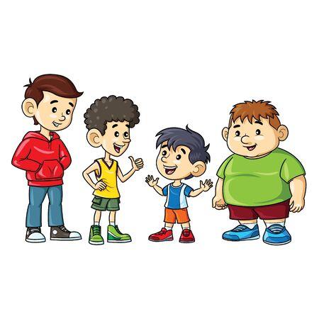 Illustrationskarikatur von niedlichen Jungen fett, dünn, groß und kurz. Vektorgrafik
