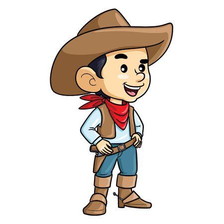 Illustration cartoon of cute a cowboy kid. 矢量图像
