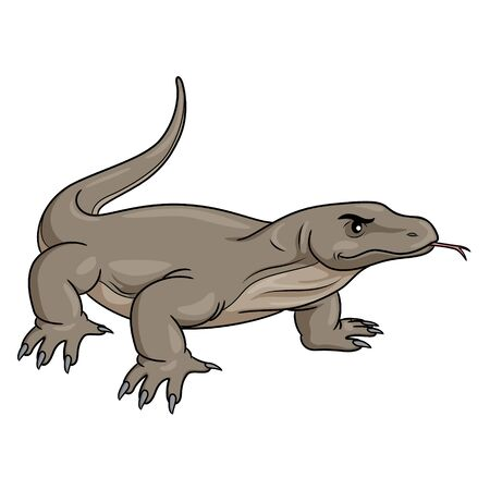 Illustration cartoon of cute komodo dragon cartoon.
