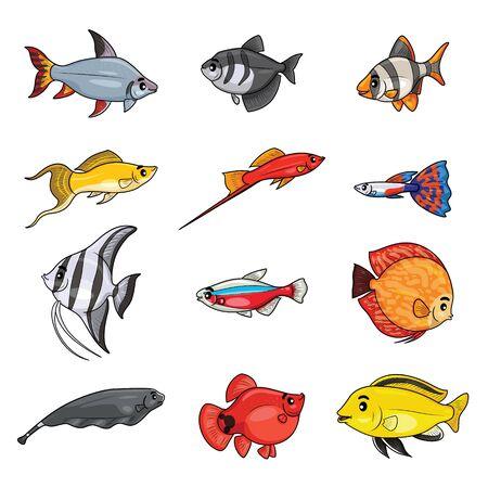 Illustration cartoon of cute freshwater aquarium fishes.