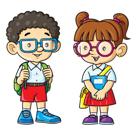 Illustration of cartoon geek funny couple.