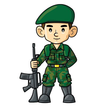 Illustration cartoon of cute soldier.
