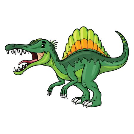 Illustration cartoon of cute spinosaurus cartoon.