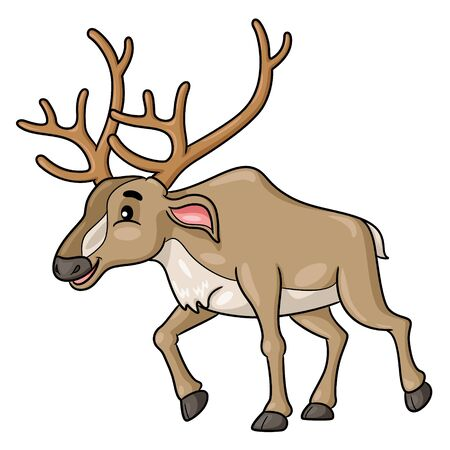 Illustration cartoon of cute reindeer.