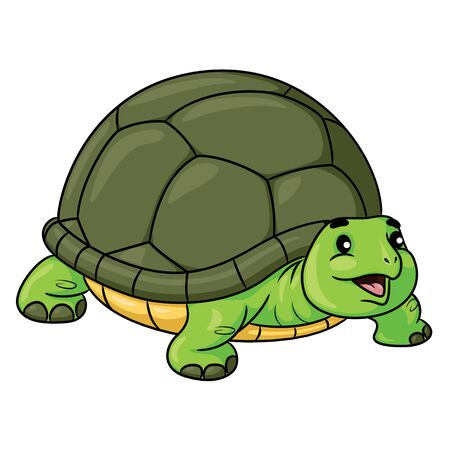 Illustration of cute cartoon turtle.
