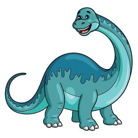 Illustration cartoon of cute brontosaurus cartoon.