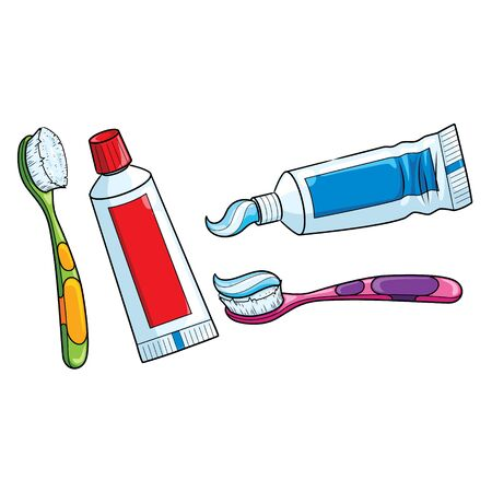 Illustration of cute cartoon toothbrush and toothpaste.