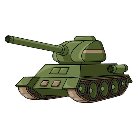 Illustration of cute cartoon war tank.