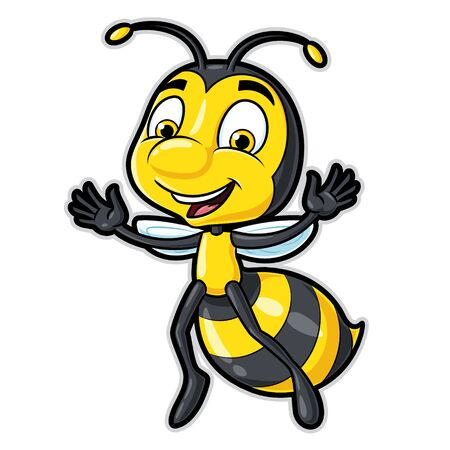 Illustration of a cute cartoon bee character smiling.