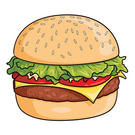 Illustration of cute cartoon burger. 向量圖像