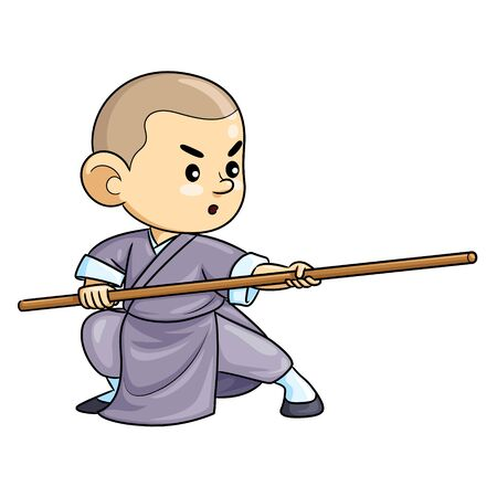 Illustration cartoon of cute a kung fu kid.