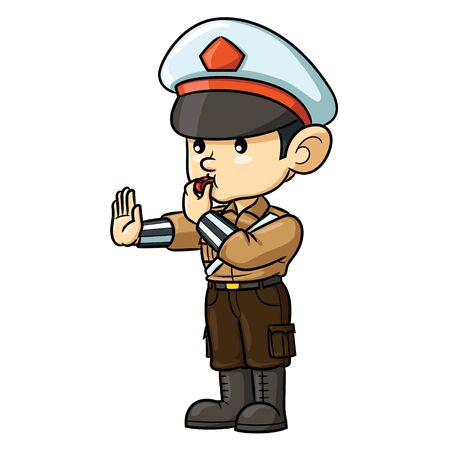 Illustration cartoon of cute police.