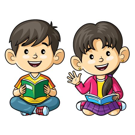 Illustration cartoon of cute kids reading book.