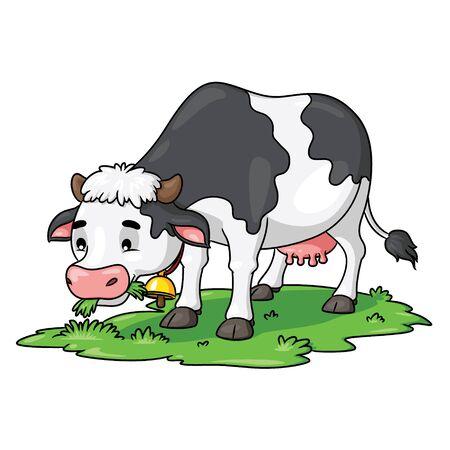 Illustration der niedlichen Karikaturkuh, die Gras isst. Vektorgrafik
