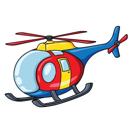 Illustration of cute cartoon helicopter.