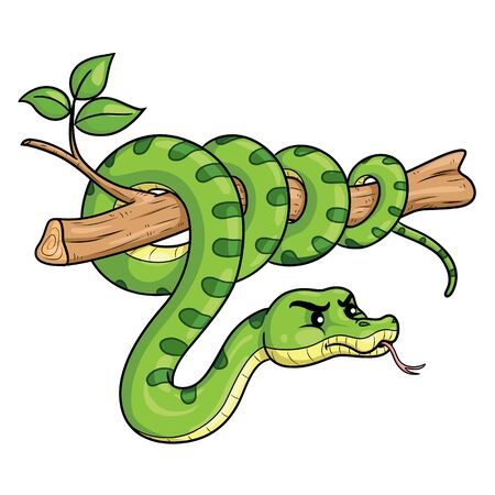 Illustration cartoon of cute green snake on branch.