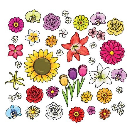 illustration of various cute cartoon flowers. 向量圖像