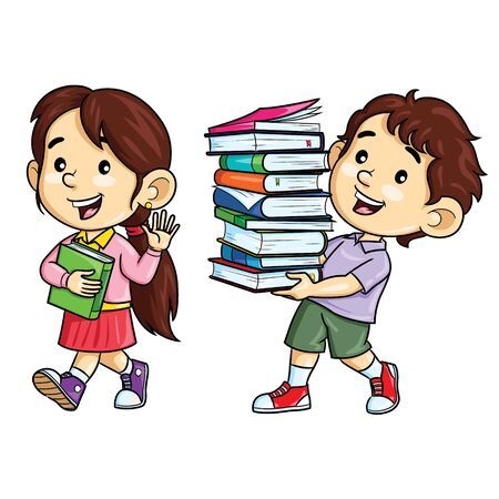 Cartoon of  kids carry books on white 向量圖像