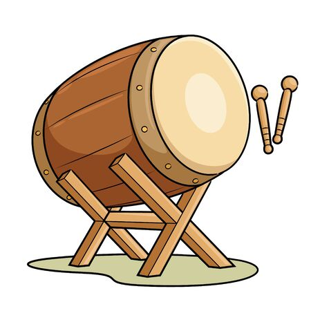 Illustration of cute cartoon bedug drum.