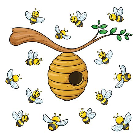 Illustration cartoon of cute bees with beehive.