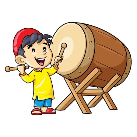 Illustration cartoon of cute a boy playing bedug drum. 向量圖像