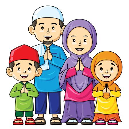 Illustration cartoon of cute happy muslim family.