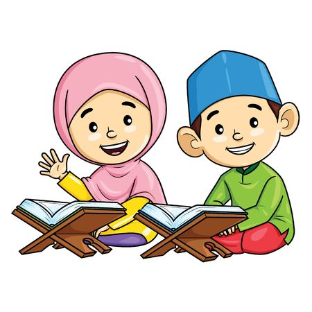 Illustration cartoon of cute boy and girl Muslim recite the Quran 向量圖像