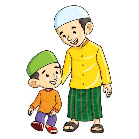 Illustration cartoon of cute a Muslim boy and his father. 向量圖像