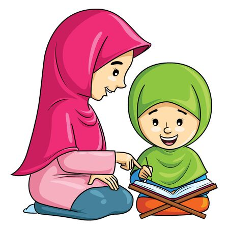 Illustration cartoon of cute a Muslim girl learning to recite the Quran with her mother. 向量圖像
