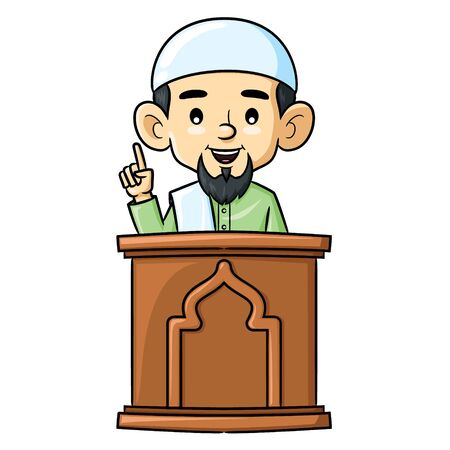 Illustration cartoon of cute cleric giving lecture. 向量圖像