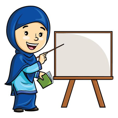 Illustration cartoon of cute woman teacher in hijab.
