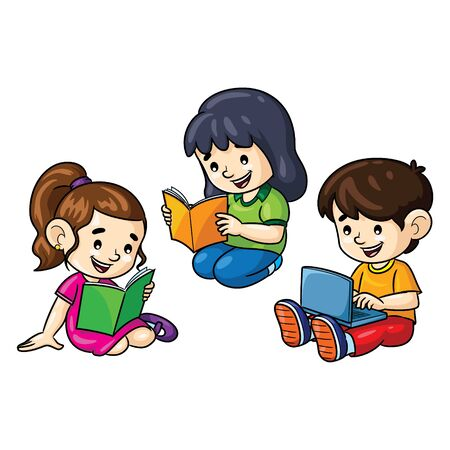 Illustration cartoon of cute childrens reading boos and laptop. 向量圖像