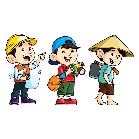 Illustration cartoon of cute professions. Architect, photographer and farmer. 向量圖像
