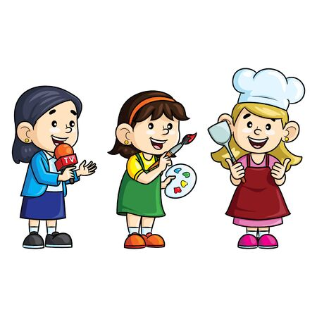 Illustration cartoon of cute professions. Reporter, painter and chef