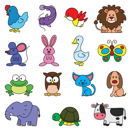 Illustration cartoon of cute simple animals pack. 向量圖像