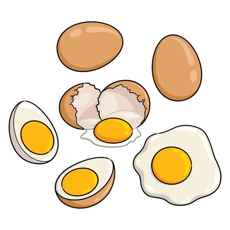 Illustration cartoon of cute eggs. 向量圖像