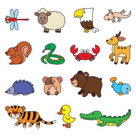 Illustration cartoon of cute simple animals set. Ilustración de vector