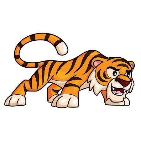 Illustration of cute cartoon tiger. 向量圖像