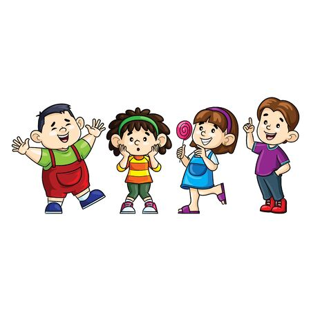 Illustration cartoon of cute boys and girls. 向量圖像